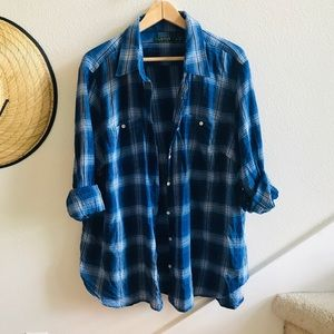 LRL RALPH LAUREN blue plaid shirt plus 3x button